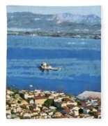 Nafplio Town And Bourtzi Fortress Fleece Blanket