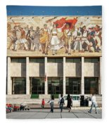 National Historical Museum Landmark And Mosaic Mural In Tirana A Fleece Blanket