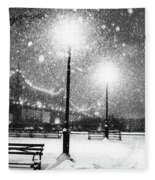 New York City Snow Fleece Blanket by Vivienne Gucwa