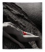 Nude Woman Lying On Rocks By The Water Fleece Blanket