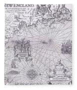 Part Of Captain J Smith's Map Of New England Fleece Blanket