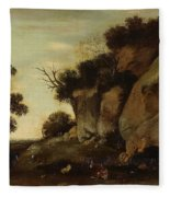 Pastoral Scene At The Cave Fleece Blanket