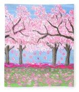 Pink Garden, Oil Painting Fleece Blanket