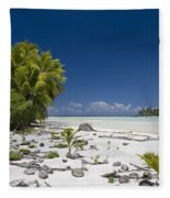 Polynesian Beach With Palms Fleece Blanket
