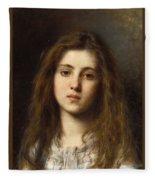 Portrait Of A Young Girl Alexei Alexeivich Harlamoff Fleece Blanket