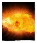 Realistic Fire Explosion, Orange Blast With Sparks Isolated On Black Background Fleece Blanket