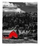 Red Barn In Wyoming Fleece Blanket