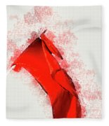 Red Flag On Black Background Fleece Blanket