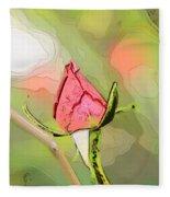 Red Garden Rose Bud Fleece Blanket