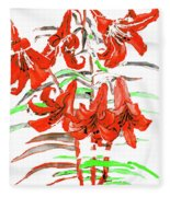 Red Lilies, Hand Drawn Painting Fleece Blanket