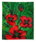 3 Red Poppies Fleece Blanket