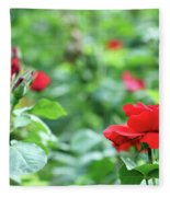 Red Roses Garden Spring Season Fleece Blanket