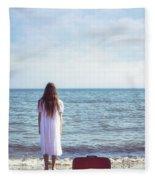 Red Suitcase Fleece Blanket