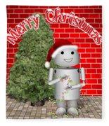 Robo-x9 Wishes A Merry Christmas Fleece Blanket