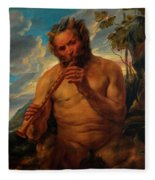 Satyr Playing The Pipe Fleece Blanket