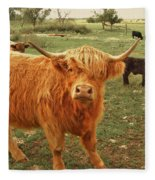 Scottish Highlander With Big Bangs Fleece Blanket