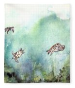 3 Sea Turtles Fleece Blanket