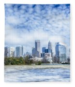 Snow And Ice Covered City And Streets Of Charlotte Nc Usa Fleece Blanket