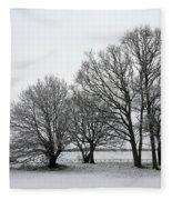 Snow On Epsom Downs Surrey Uk Fleece Blanket