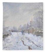 Snow Scene At Argenteuil Fleece Blanket