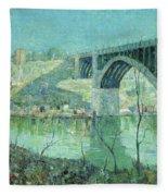 Spring Night Harlem River Fleece Blanket