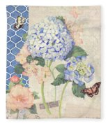 Summer Memories - Blue Hydrangea N Butterflies Fleece Blanket