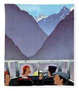 Switzerland Vintage Travel Poster Restored Fleece Blanket
