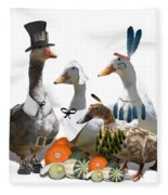Thanksgiving Ducks Fleece Blanket