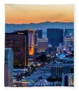 the Strip at night, Las Vegas Fleece Blanket