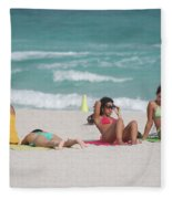 3 Up 1 Down At The Beach Fleece Blanket