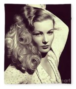 Veronica Lake, Vintage Actress Fleece Blanket