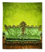 Victorian Sofa In Retro Room Fleece Blanket