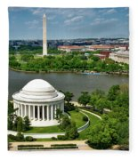 View Of The Jefferson Memorial And Washington Monument Fleece Blanket