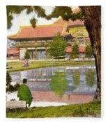 Vintage Japanese Art Fleece Blanket