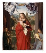 Virgin And Child With Four Angels Fleece Blanket