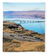 Wanapum Lake Colombia River Wild Horses Monument And Canyons Fleece Blanket