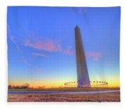Washington Monument Sunset Fleece Blanket