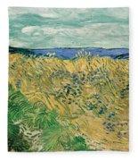 Wheat Field With Cornflowers Fleece Blanket