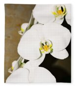 3 White Orchids Fleece Blanket