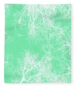 White Silhouetted Trees  Fleece Blanket