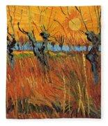 Willows At Sunset Fleece Blanket