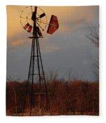 Windmill At Dusk Fleece Blanket