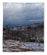 Winter Landscape And Snow Covered Roads In The Mountains Fleece Blanket