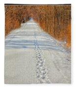 Winter On Macomb Orchard Trail Fleece Blanket