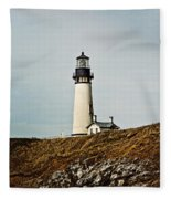 Yaquina Head Lighthouse - Toned By Texture Fleece Blanket