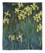 Yellow Irises Fleece Blanket