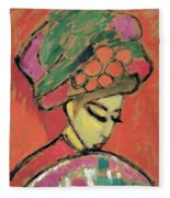 Young Girl With A Flowered Hat Fleece Blanket