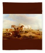 Willis Henry Brittan Horses And Cattle On The Shore Henry Brittan Willis Fleece Blanket