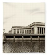 30th Street Station From The River Walk In Sepia Fleece Blanket