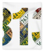 313 Area Code Detroit Michigan Recycled Vintage License Plate Art On White Background Fleece Blanket